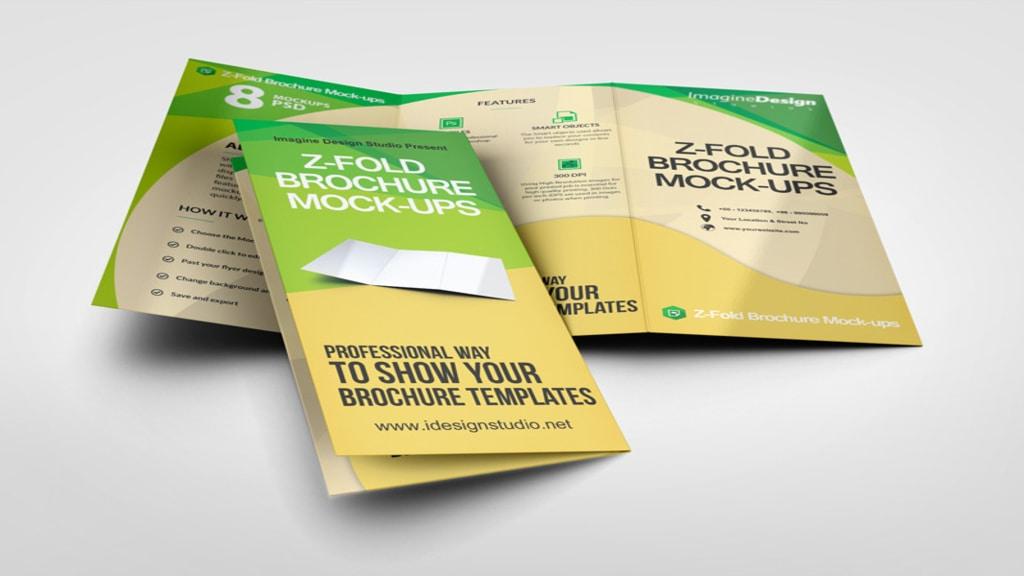 z fold brochure mock ups