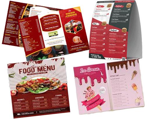 Menu card design sample