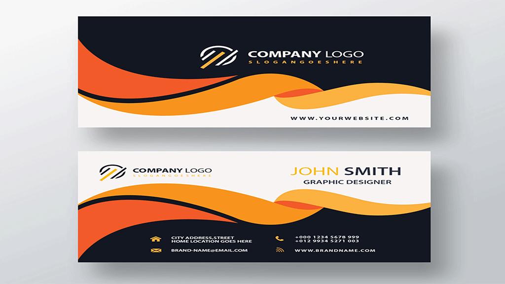 business card design in orange color