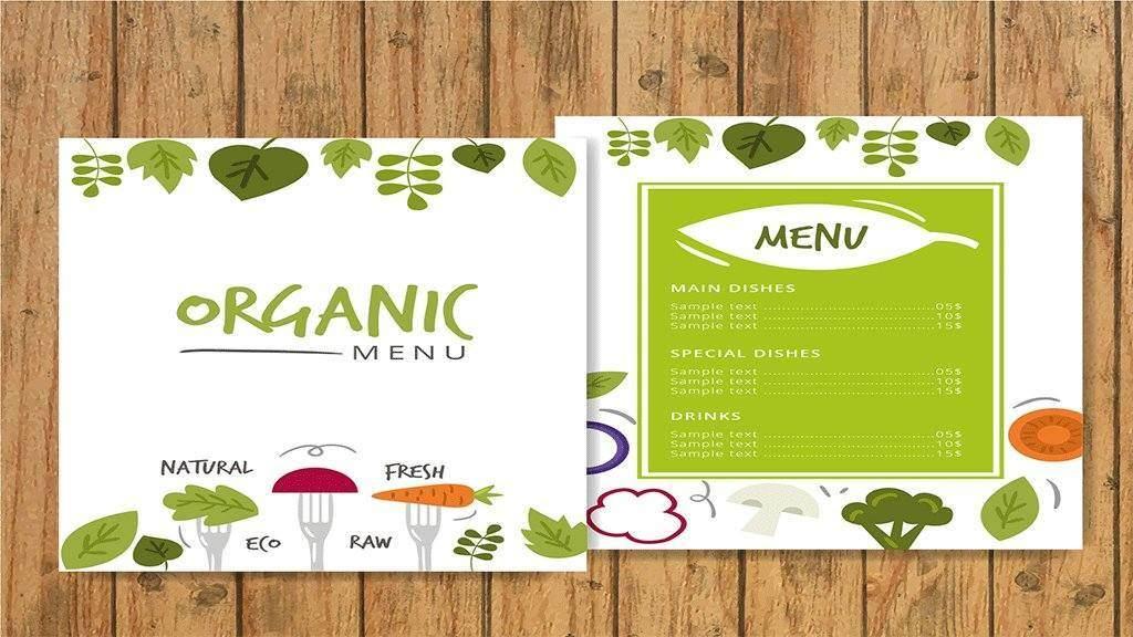 organic menu card
