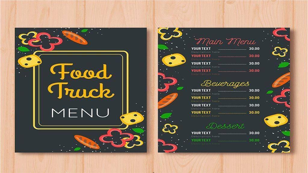 food truck menu card