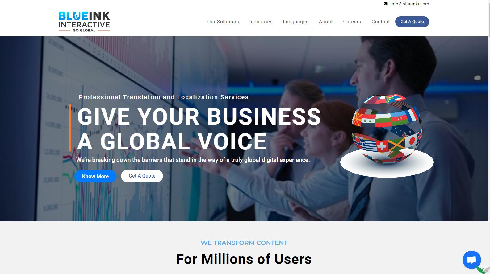 blueink interactive solution website design