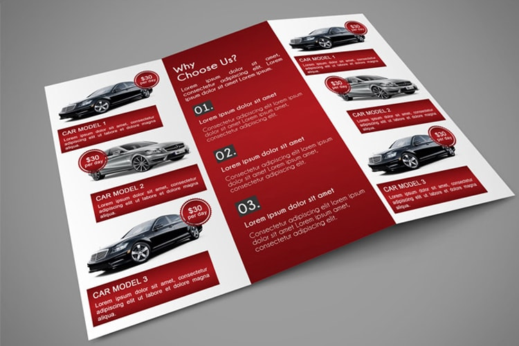car trifold brochure