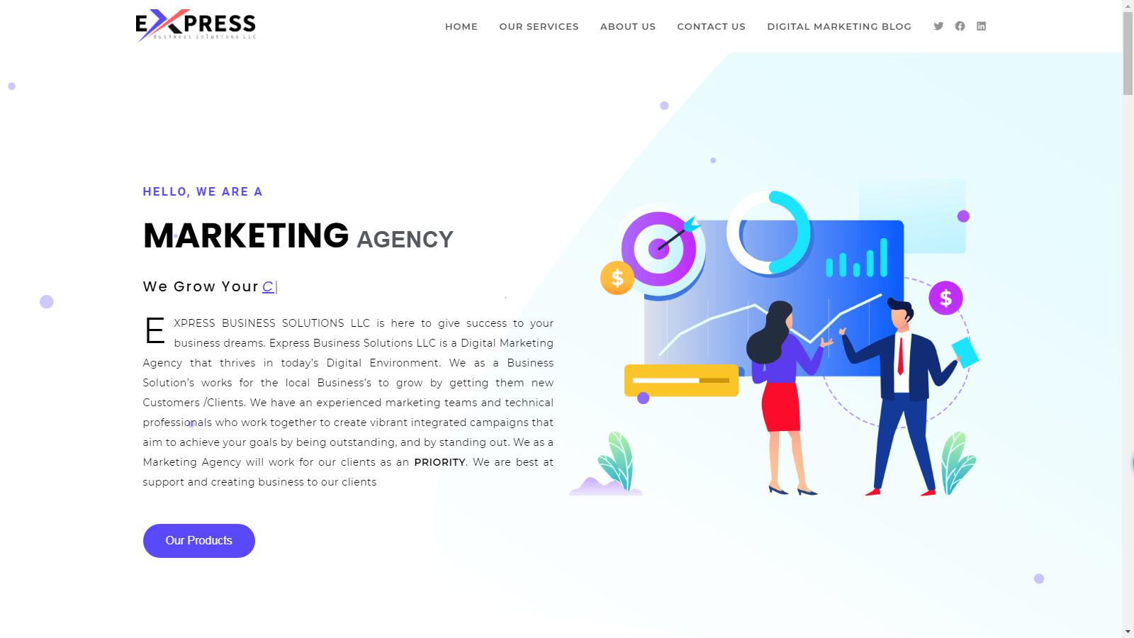 digital marketing website homepage