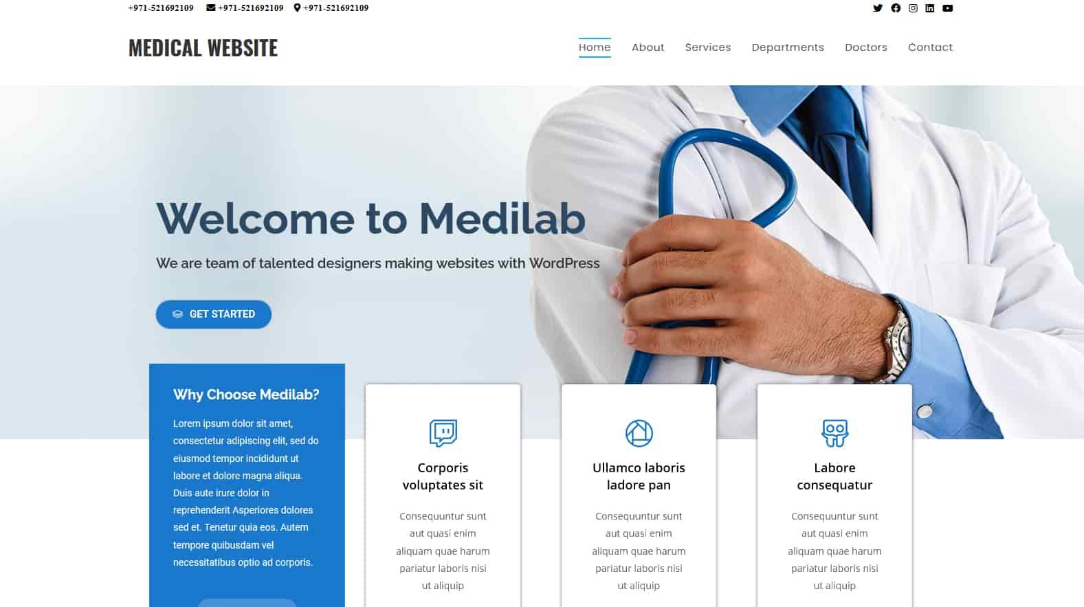 medical website homepage