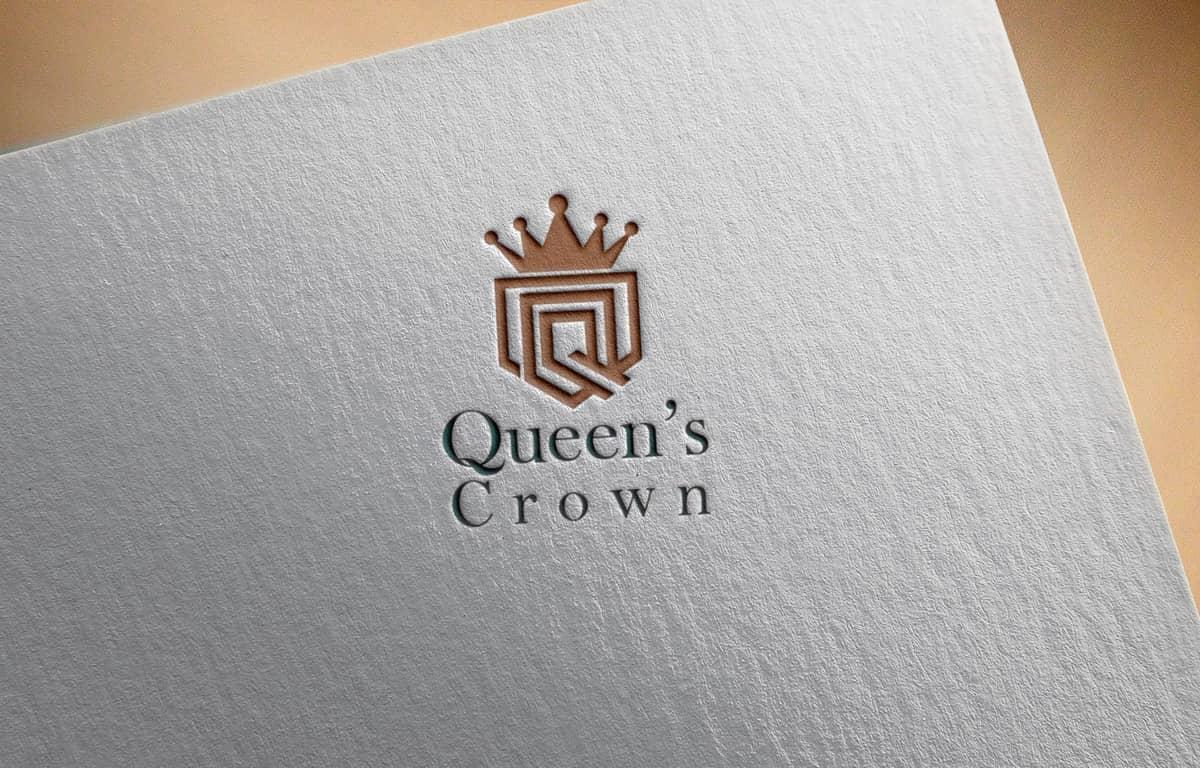 queen crown logo mockup