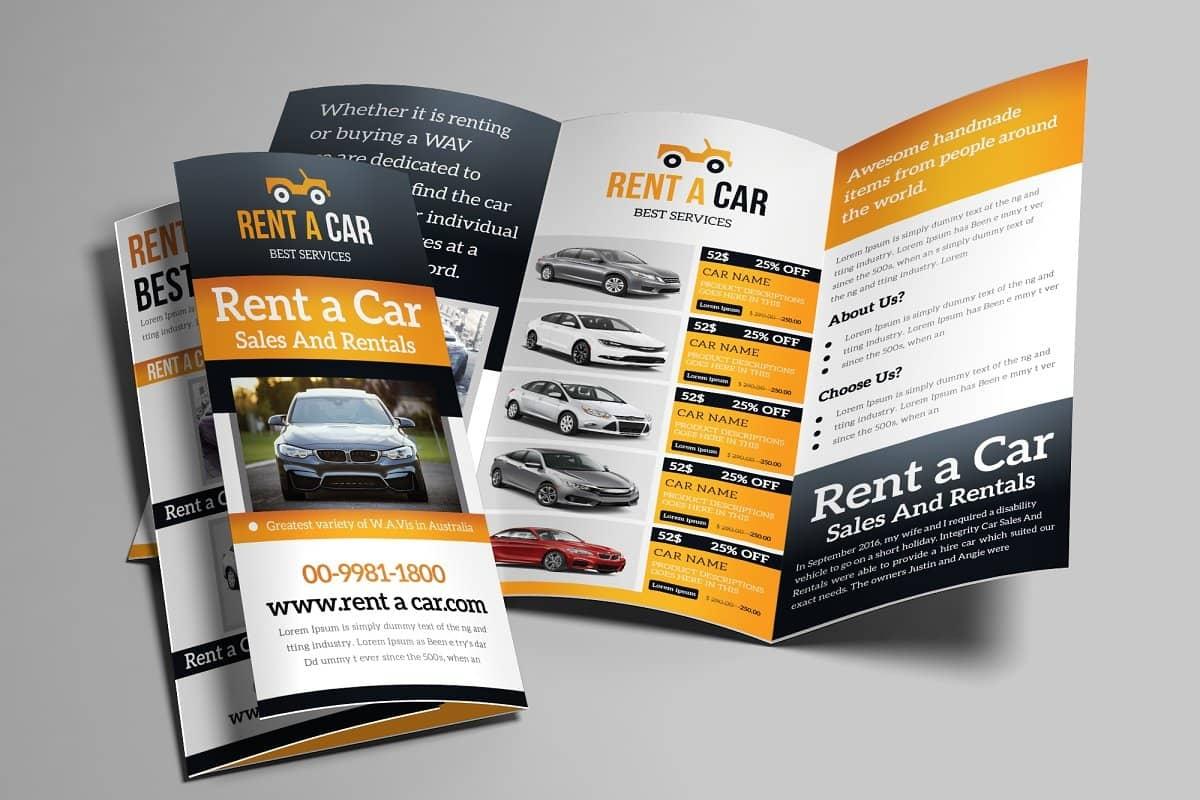 rent car trifold brochure