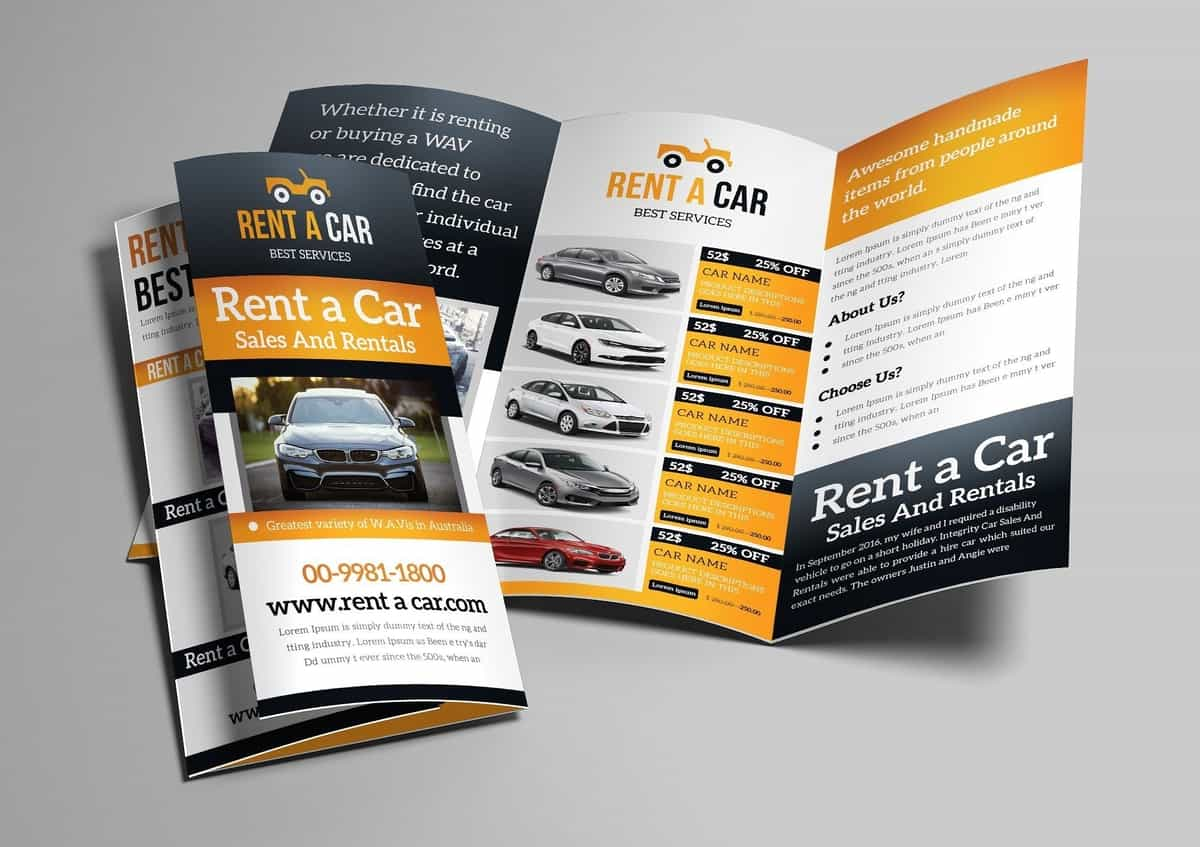 rentcar trifold brochure